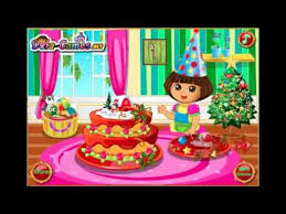dora christmas cake making baby game