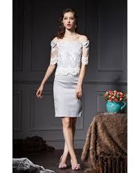 lace wedding guest dresses grey sheath the shoulder lace wedding guest dress gemgrace