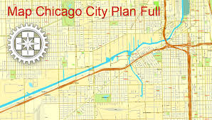 chicago map printable chicago il us printable city plan map adobe pdf vector