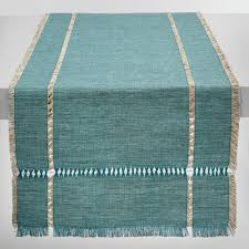 table linens tablecloths placemats napkins world market oversized teal melange khadi table runner
