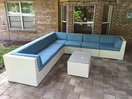 Wicker Sectional Patio Furniture by Ohana U0027s White Wicker And Sunbrella Mineral Blue Deep Seating
