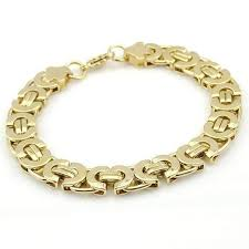 bracelet gold man stainless steel images Alpha 11mm flat byzantine link 18k gold plated or stainless steel jpg