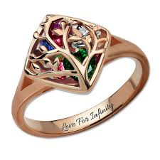 family birthstone rings engraved family tree birthstone ring cage ring family ring for