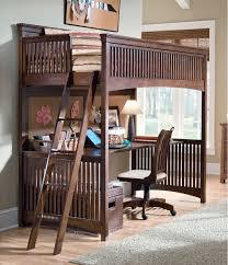bedroom bunk beds for kids with desks underneath fireplace