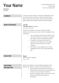 Free Easy Resume Template Free Resume Templates