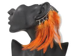 one side feather earring silver metal orange genuine feather peacock one side earring