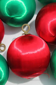 vintage satin sheen balls tree ornaments green