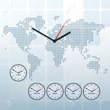 World Time Map World Map And World Time Vector Background Royalty Free Cliparts