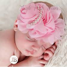 hair chiffon jrfsd newborn cute pearl rose flower hair bands chiffon lace