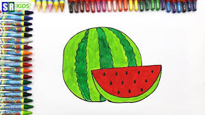 how to draw watermelon coloring pages fruit kids songs learn