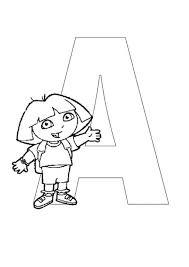 dora explorer alphabet letter umbrella coloring pages