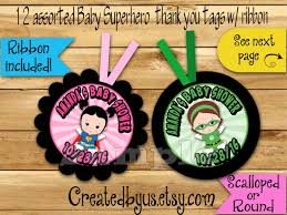 baby superhero thank you tags baby shower favors baby super