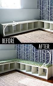 diy furniture hacks padded bench out of bookshelf cool ideas for