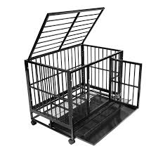 dog crate kennel heavy duty pet cage playpen w metal tray pan