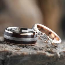 wooden wedding ring sets meteorite wedding ring set engagement ring with wood wedding band