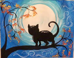 how to paint a cat and moon tracie s acrylic canvas tutorials