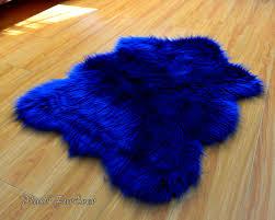 Faux Fur Sheepskin Rug Navy Blue Shaggy Plush Sheepskin Faux Fur Nursery Rug Luxury