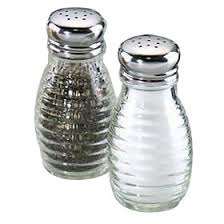 beehive glass salt and pepper shakers with stainless