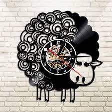 Sheep Home Decor 1piece Sheep Design Vinyl Record Wall Clock Sheepish Sheep