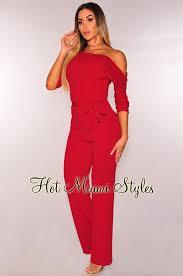 wine jumpsuit shoulder belted palazzo jumpsuit