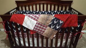 Sock Monkey Baby Bedding Woodland Boy Crib Bedding Navy Buck Deer Skin Minky White