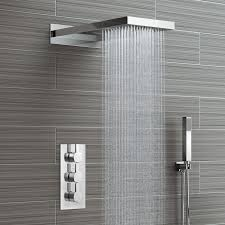 waterfall shower head concealed thermostatic valve kit with bathroom mirrors