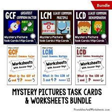 gcf lcm and lcd task cards and worksheets bundle printables