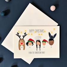 bespoke personalised family christmas cards pack hats by little