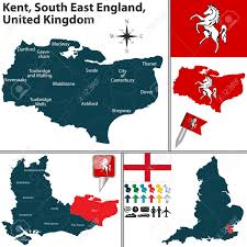 Canterbury England Map by Vector Map Of Kent South East England United Kingdom With Regions