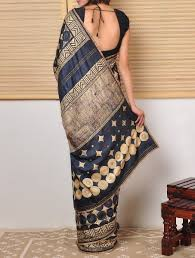 buy tussar saree with kantha polka online saris saree and