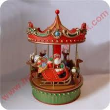 christmas carousel carousel rotates plays slowly