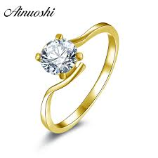 wedding ring brand ainuoshi 10k solitaire yellow gold wedding rings 0 8 carat