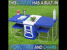 Mini Folding Table Cooler With Fold Out Table And Chairs Mini Picnic Table Cooler