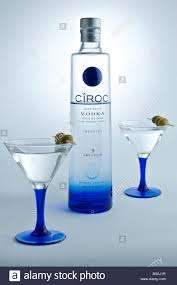 blue martini bottle a bottle of ciroc vodka on white background with garnished