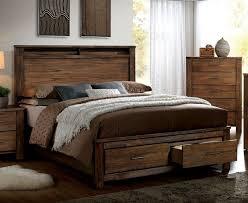 King Storage Platform Bed Furniture Of America Cm7072ck Elkton Transitional Oak Finish Solid