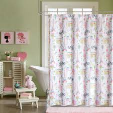 Pink And Yellow Shower Curtain by Home Essence Kids Poodles In Paris Printed Shower Curtain