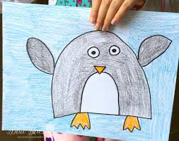 january directed drawings first grade blue skies penguins