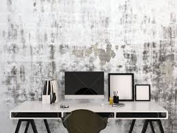 stylish black and white home work space with a desktop computer