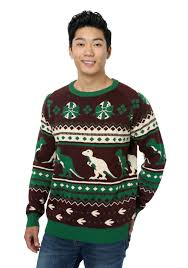 holiday dinosaur ugly christmas sweater for men