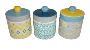 Retro Kitchen Canisters by Set Of 3 Ceramic Blue Yellow Grey Vintage Retro Kitchen Canisters