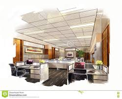 Interior Design Bedroom Drawings 3d Linear Modern Office Interior Interior Design Office Sketches