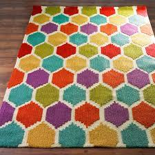 Loop Rugs Rainbow Honeycomb Pattern Rugcasual Elegance And Flirty Fun