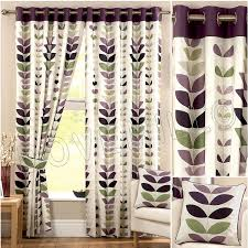 Eyelet Curtains 90 X 72 Zest Modern Retro Solid Printed Leaf Pattern Readymade Lined