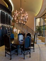 wine bottle chandelier dining room transitional with centerpiece