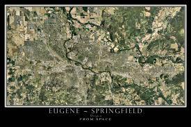 map of oregon eugene eugene springfield oregon satellite poster map terraprints