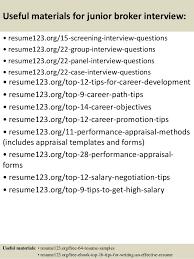 Offshore Resume Samples by Top 8 Junior Broker Resume Samples