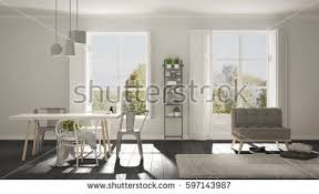 Scandinavian Livingroom Scandinavian Living Room Big Windows Garden Stock Illustration