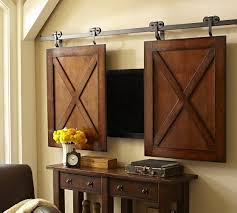 Sliding Barn Doors A Practical Solution For Large Or rolling cabinet media solution pottery barn i don u0027t know what