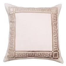24x24 Decorative Pillows Lili Alessandra Dimitri Ivory Basketweave Fawn Velvet Decorative