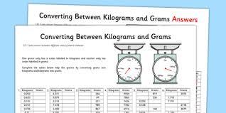 converting between grams and kilograms activity sheet
